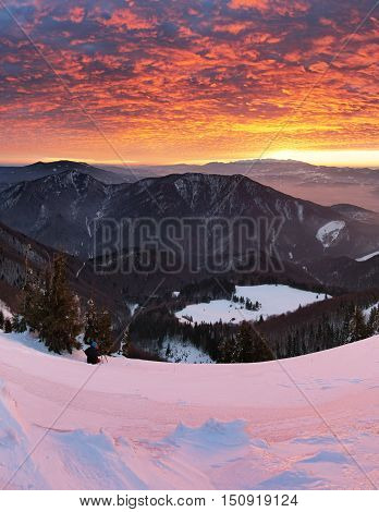 Sunrise in mountain - Slovakia Fatra at a sunset