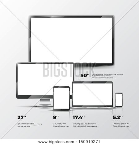 Blank TV screen, Lcd monitor, notebook, tablet computer, smartphone mockups isolated on white background. Electronic devices computer design. Vector illustration