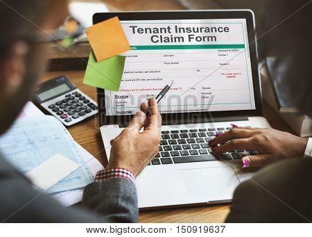 Tenant Insurance Claim Form Audit Benefit Concept