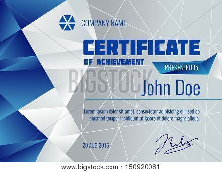 Qualification certificate vector modern template with polygonal background. Diploma presented from company illustration