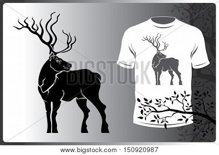 Vector isolated silhouette animal logo image elk. Print on T-shirt or a logo elk