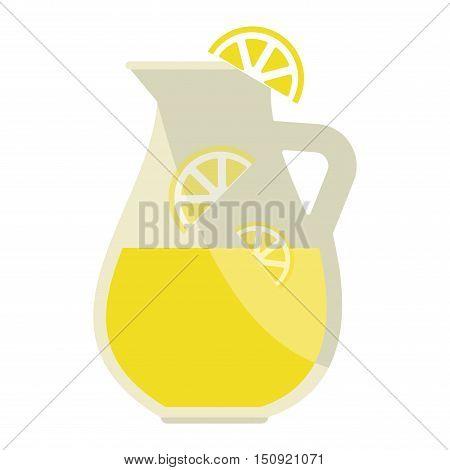 Jar of tasty fresh lemonade with lemons in background. Lemonade jar summer food cold citrus healthy beverage. Yellow refreshment slice ice lemonade jar sweet homemade liquid vector.