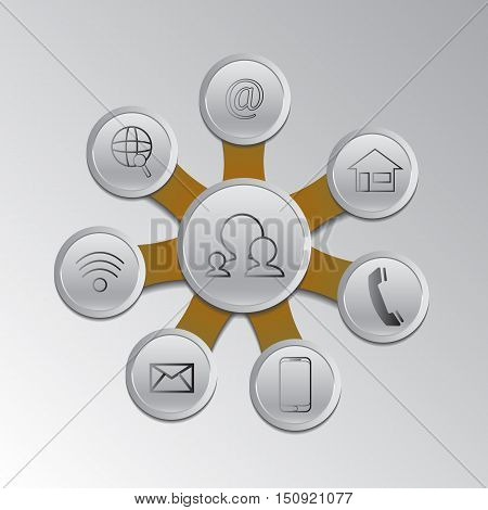 vector set social network infographic.Web design with communications symbol