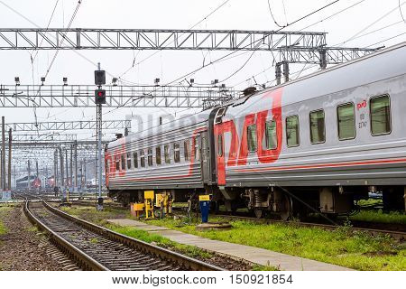SAINT-PETERSBURG RUSSIA - September 28 2016: Railway cars stand on railroad track of technical railway station - operational locomotive depot. View of Moscow station. Transport infrastructure of Railways St. Petersburg