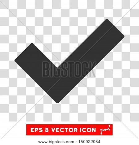 Vector Validation Tick EPS vector pictogram. Illustration style is flat iconic gray symbol on a transparent background.