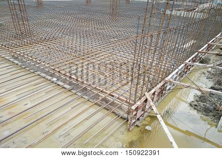 Construction site shown ground floor steel bars design used ultimate strength design