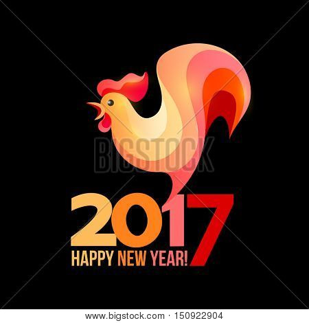 Colorful poster of a rooster isolated on black background. Good for prints, covers, posters, cards, gift design. Happy 2017 Chinese New Year card.