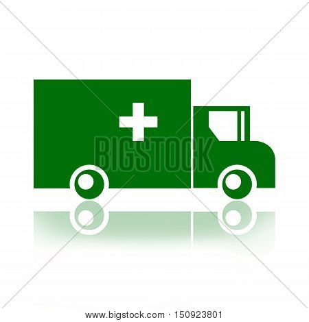 Army ambulance truck isolated on white background