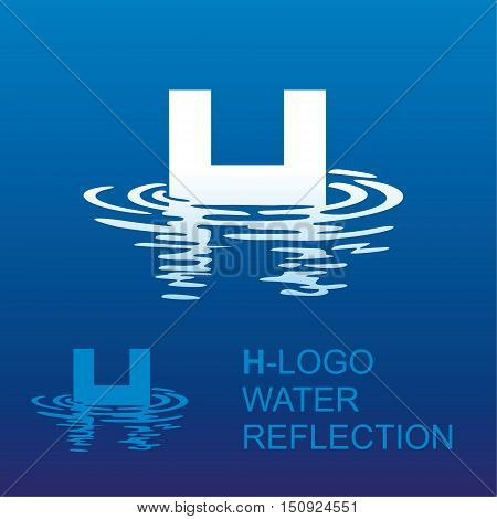 Template H brand name companies. Corporate style for the letter H: logo, background. Creative logo letter in the reflection in the water