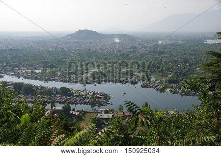 Lake in Srinagar in Kashmir, in India