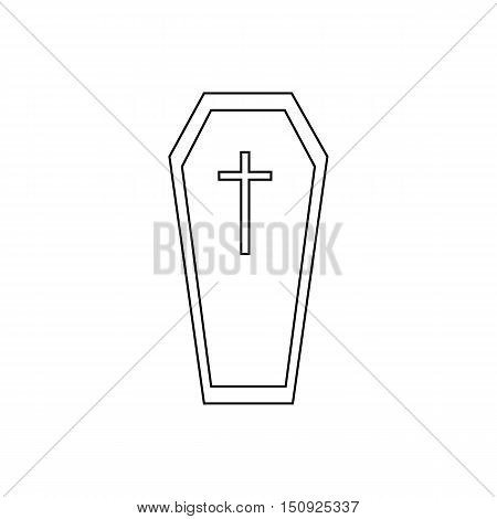 Halloween coffin icon. Outline illustration of coffin vector icon for web design