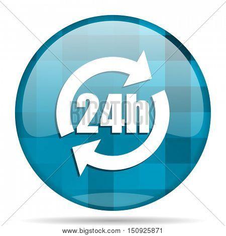 24h blue round modern design internet icon on white background