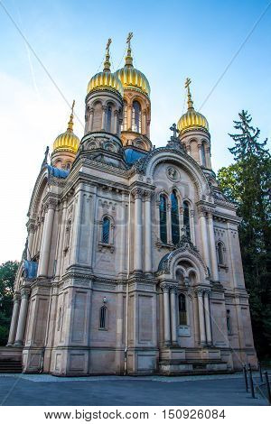 Russian Orthodox Church of Saint Elizabeth at the Neroberg a hill in Wiesbaden Germany