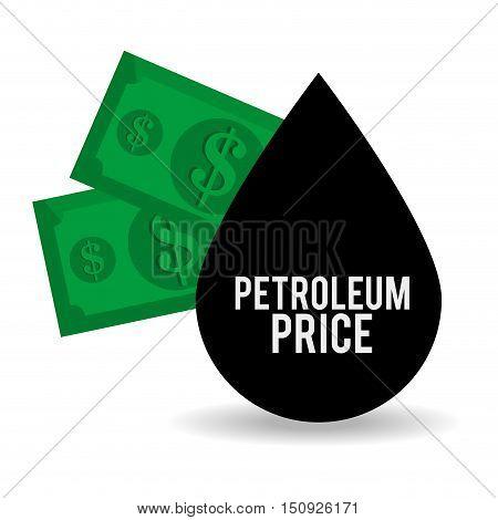 black drop and green money bills. oil and petroleum price design. vector illustration