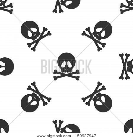 Halloween black skulls on white background seamless pattern