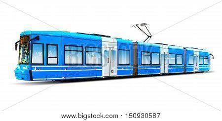 Blue modern streamlined urban tram isolated on white background