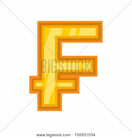 Swiss frank icon. Cartoon illustration of frank vector icon for web design