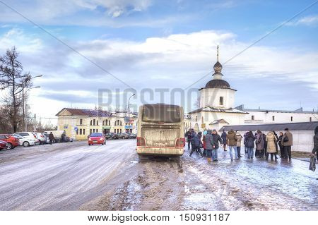 RUSSIA, ROSTOV - January 03.2015: Eldest city of Russia. Included in the Gold Ring of Russia. Kremlin is in city Rostov. Tourists arrived on an excursion