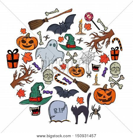 Set of Halloween icons in circle shape background. Template for packaging cards posters and menu. Vector stock illustration.