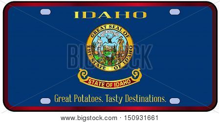 Idaho state license plate in the colors of the state flag with the flag icons over a white background