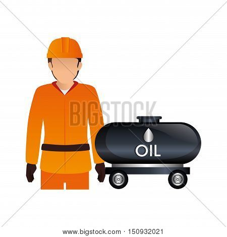 avatar industrial worker with safety equipment and oil tank icon. vector illustration