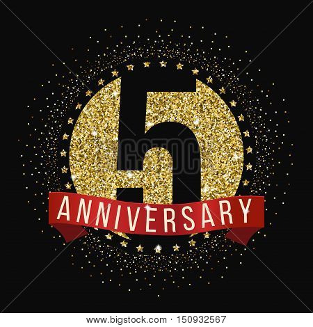 Five years anniversary celebration logotype. 5th anniversary logo.