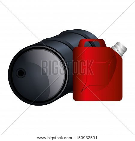 oil barrel and red gallon container. vector illustration