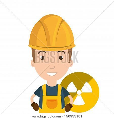avatar man smiling industrial worker with safety equipment and nuclear icon over yellow circle. vector illustration
