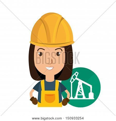 avatar industrial worker with safety equipment and oil rig tower icon over green circle. vector illustration