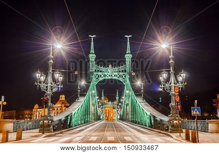 Night View Of Liberty Bridge Or Freedom Bridge In Budapest, Hungary