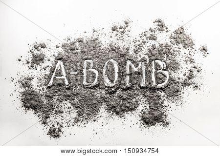 Atom bomb word written in grey explosion ash dust cloud