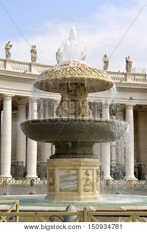 Rome Italy - September 15 2016 : Bernini's fountain of Piazza San Pietro in the Vatican City