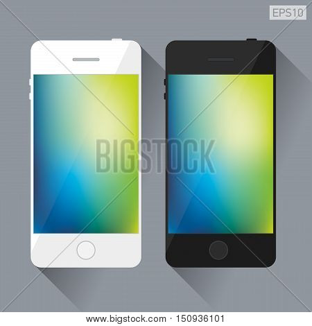 Black and white smartphone, bright gree and blue background on the screen, orange and purple mesh background, vector design flat object