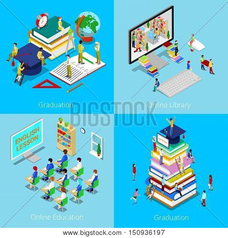 Isometric Educational Concept. Online Education, Online Library, Graduation with Cap and Students. Vector 3d flat illustration