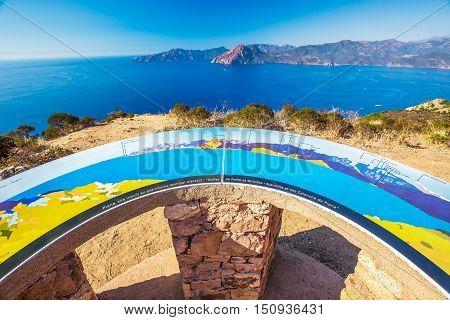 Viewport near Piana with stunning Corsica coastline and Golfe de Porto and Girolata Corsica France Europe.