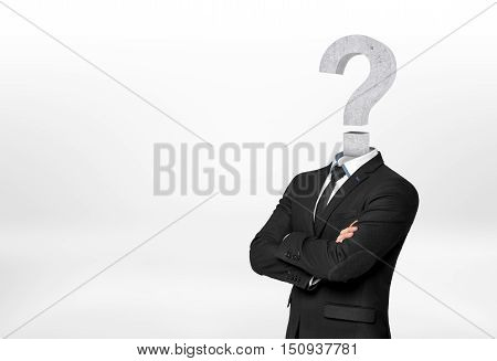 Businessman with question mark instead of head. Deadlock issue. Ideas and concepts. Confusion and uncertainty.