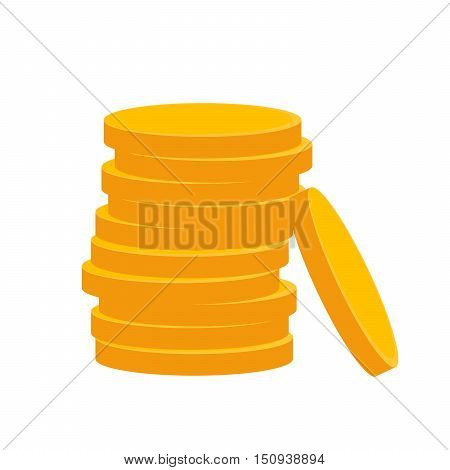 Coin icon in flat design. Gold coin symbol. Concept of income. Heap of cash coin - vector illustration.