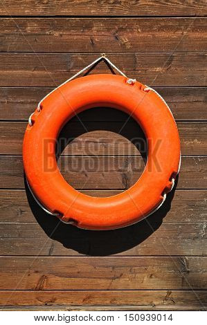 Life buoy hanging on wooden wall near pool and beach