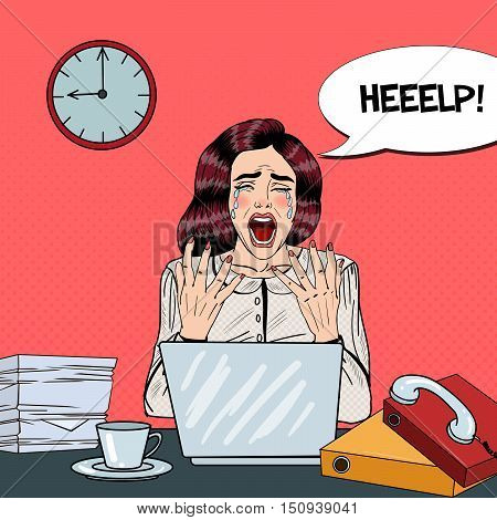 Pop Art Crying Stressed Business Woman Screaming at Multi Tasking Office Work. Vector illustration