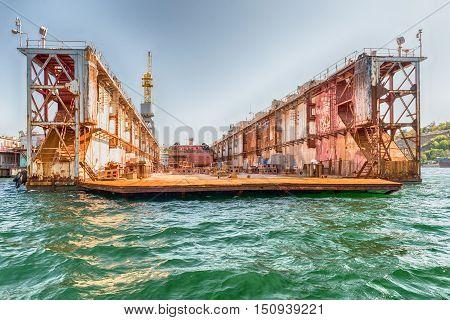 Rusty Dry Dock In The Quay Of Sevastopol Bay, Crimea
