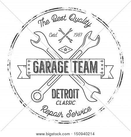 Garage service vintage tee design graphics, Detroit classic, repair service typography print. Black T-shirt stamp, teeshirt graphic, premium retro artwork. Use as emblem, logo on web projects. Vector.
