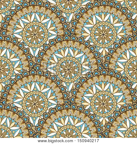Abstract floral seamless pattern. Geometric flower ornament texture. Oriental ethnic line mandala background.