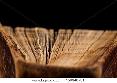 Ancient Book Shot On Black Background