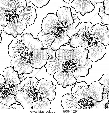 Floral engraving seamless pattern. Flower sketch background. Flourish etching black and white texture with flowers daisy. poster