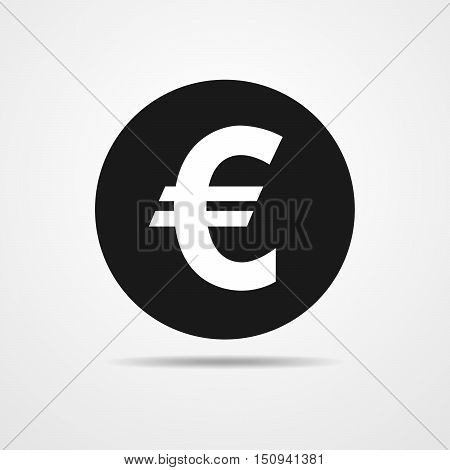 Euro sign in flat design. Black euro symbol isolated. Vector illustration.
