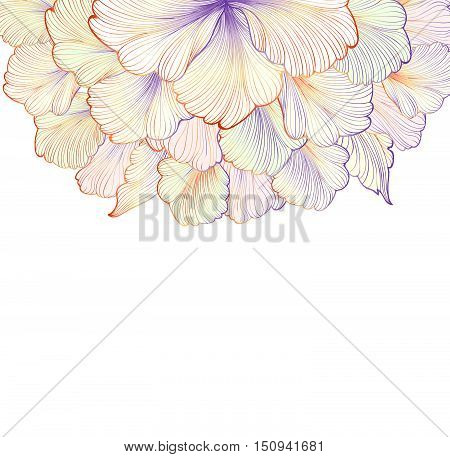 Floral engraving background with flower. Etching stylish flourish nature element for design. Flower dahlia sketching greeting card