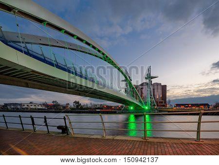 Millennium Bridge is a pedestrian and cyclist bridge in Salforq Quays Manchester England