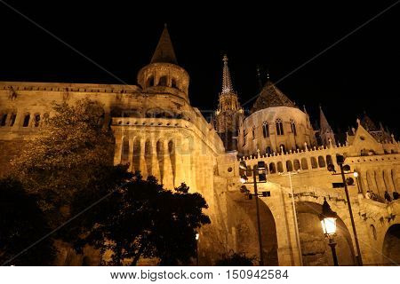 Fishermen's Bastion in Budapest By Night Lit From Outside