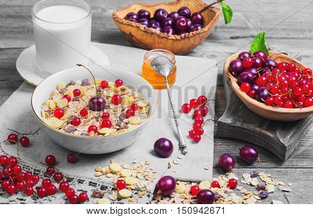 Morning breakfast muesli mix cereals dried fruits berries in bowl. Fresh red berries to muesli cereals cherries gooseberries redcurrants honey milk. Muesli cereals berries scattered on table.