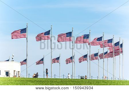 Washington D.C., USA - August 27, 2016: Row of American Flags by the monument at the national mall with people
